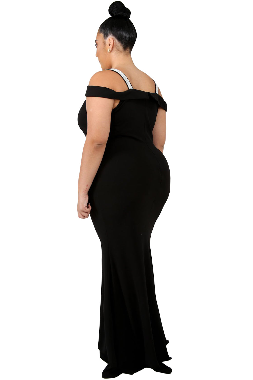 Black Rhinestone Cold Shoulder Plus Size Party Dress
