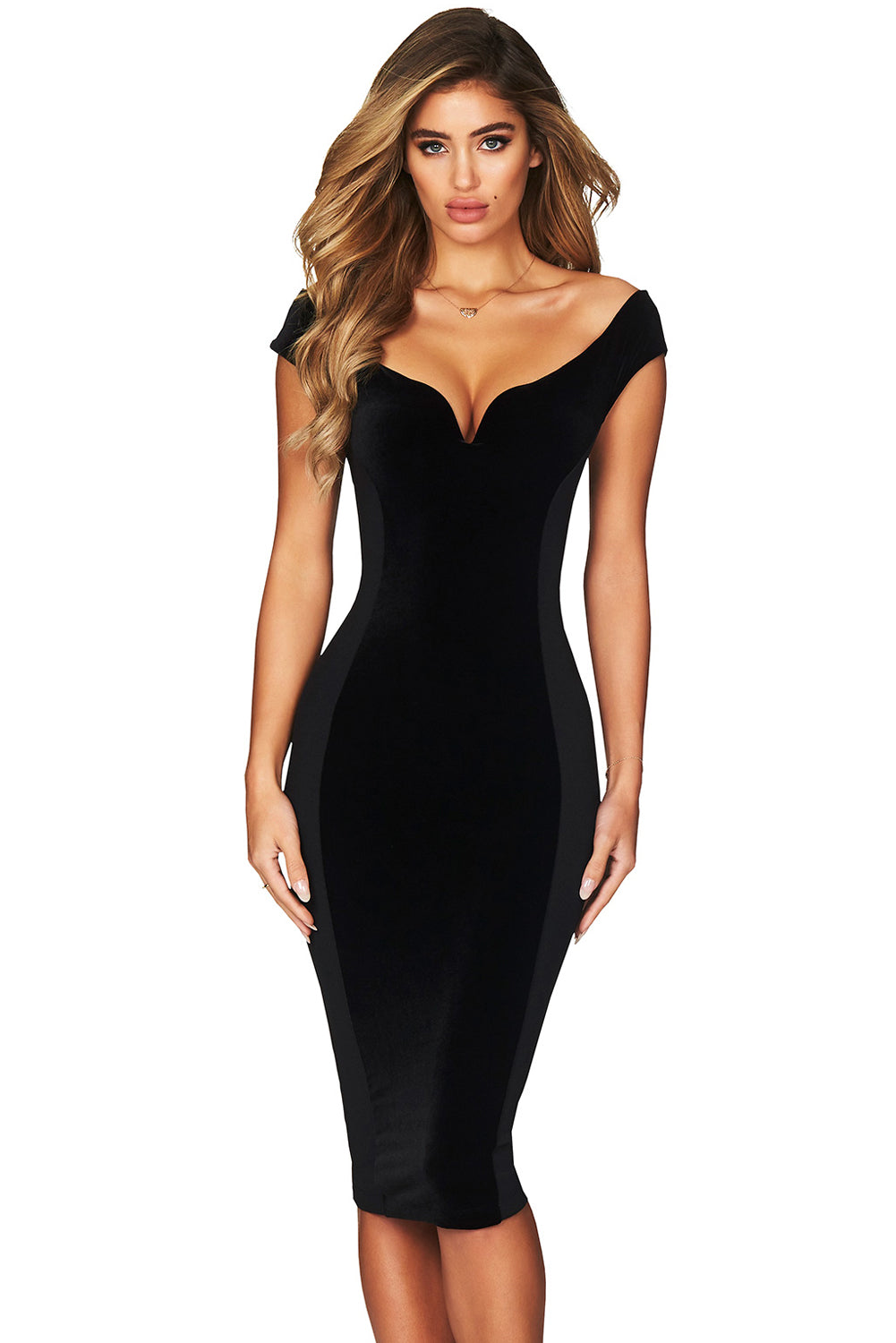 Show Hourglass Figure Black Off Shoulder Dress