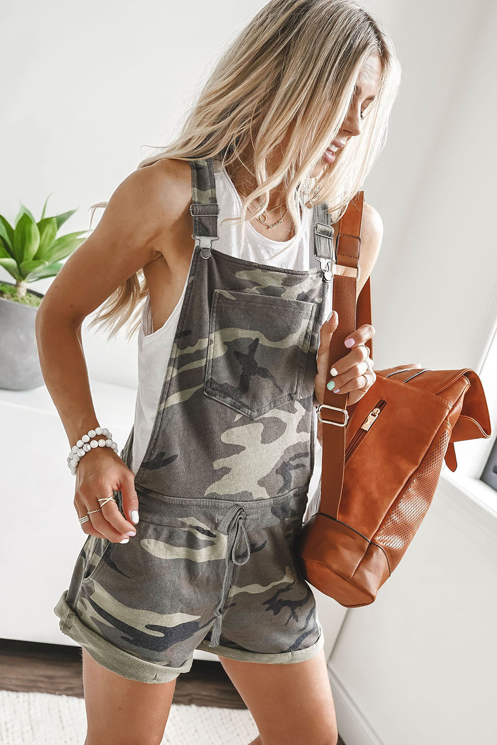 Multicolor Camo Pocketed Short Overall
