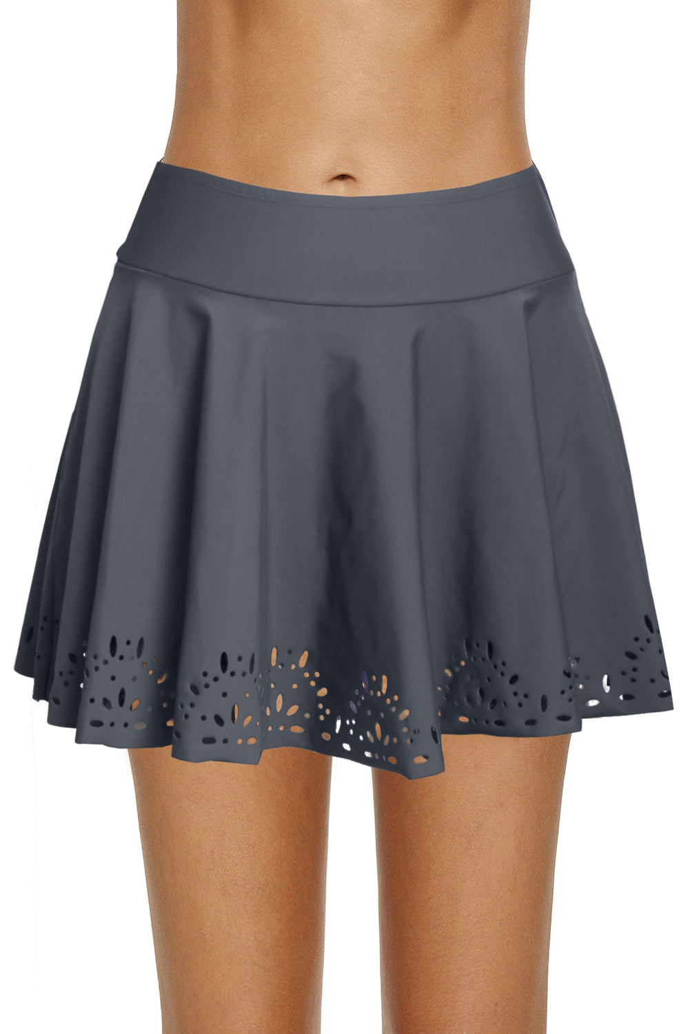 Gray Women's Laser Cut Swim Skirtini