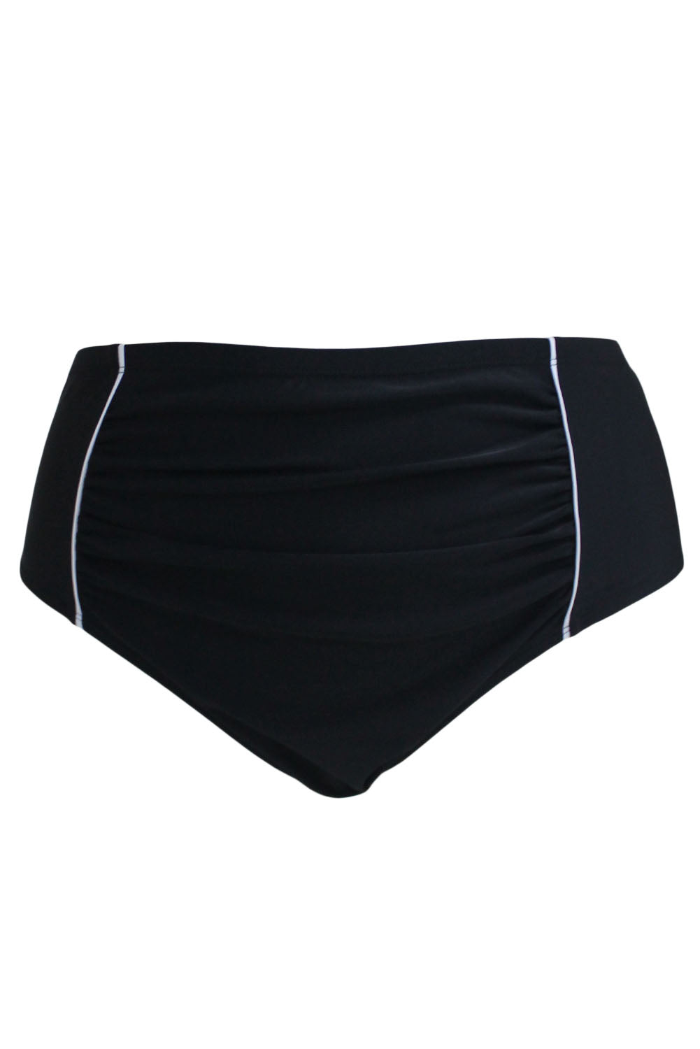 White Piping Stripes Accent Black High Waist Swim Briefs