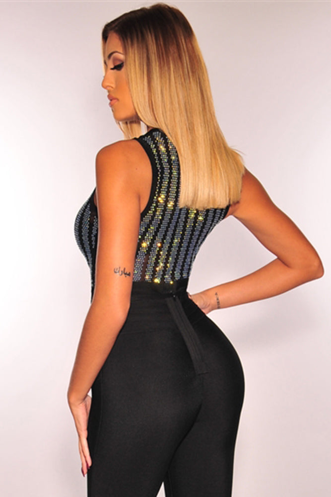 Black Iridescent Rhinestone Studded Striped Mesh Sleeveless Bodysuit