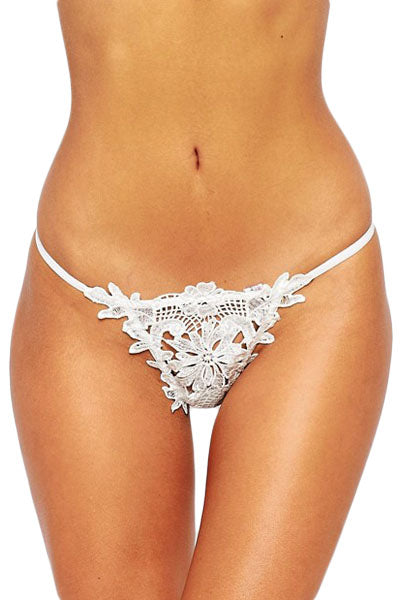 White Lace Crochet Lined Sexy Thong