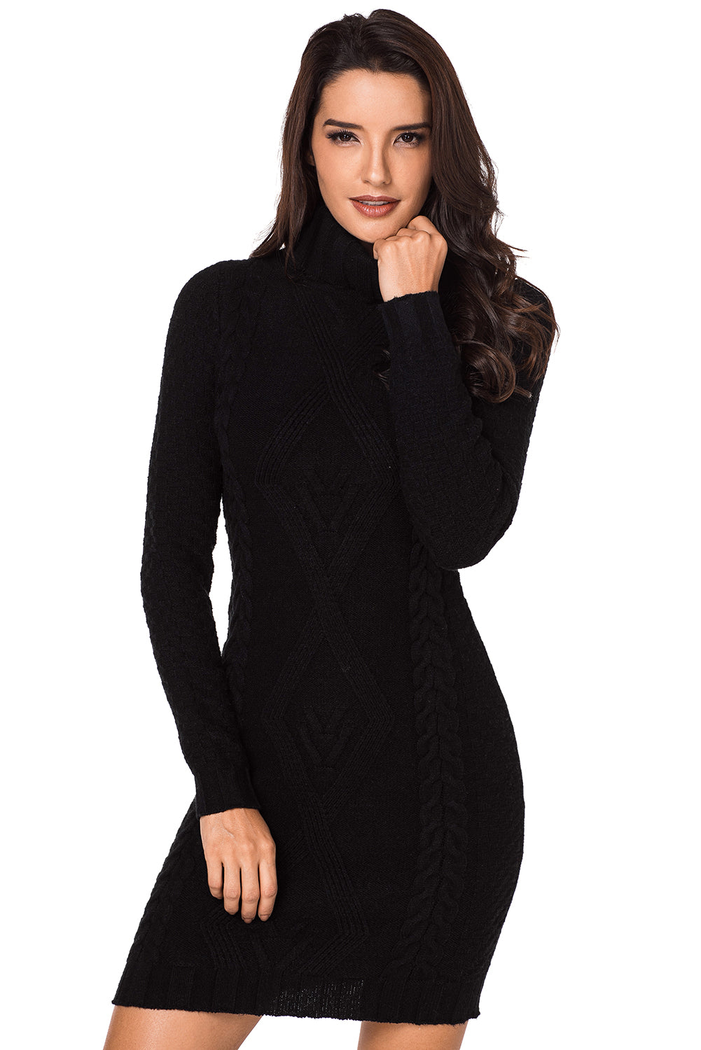 Black Stylish Pattern Knit Turtleneck Sweater Dress