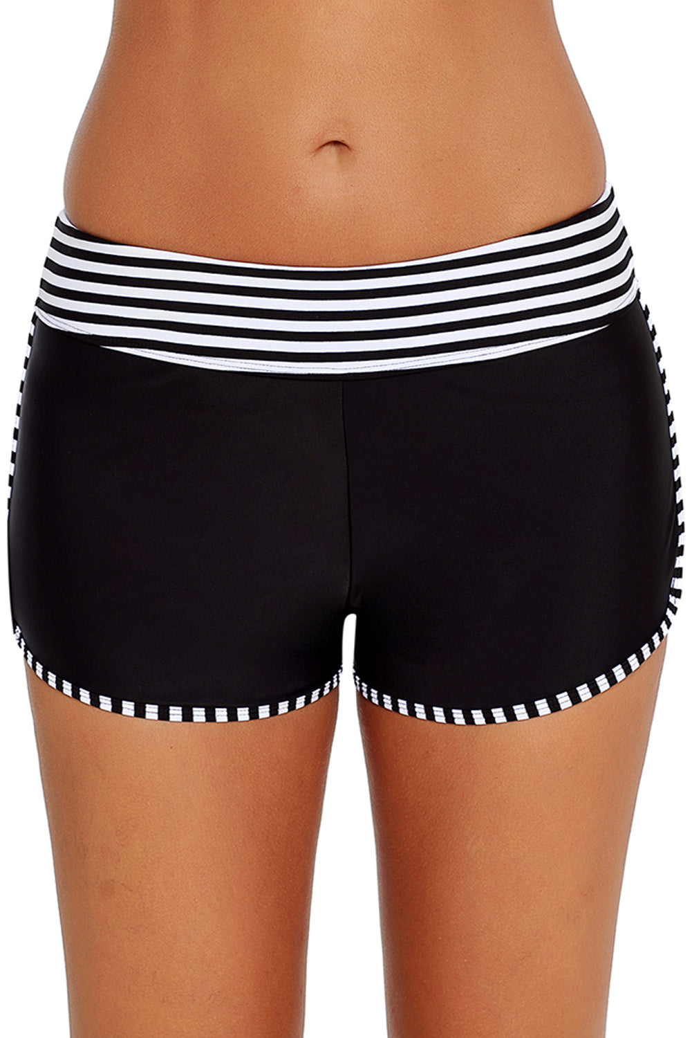 Black White Striped Trim Swim Board Shorts
