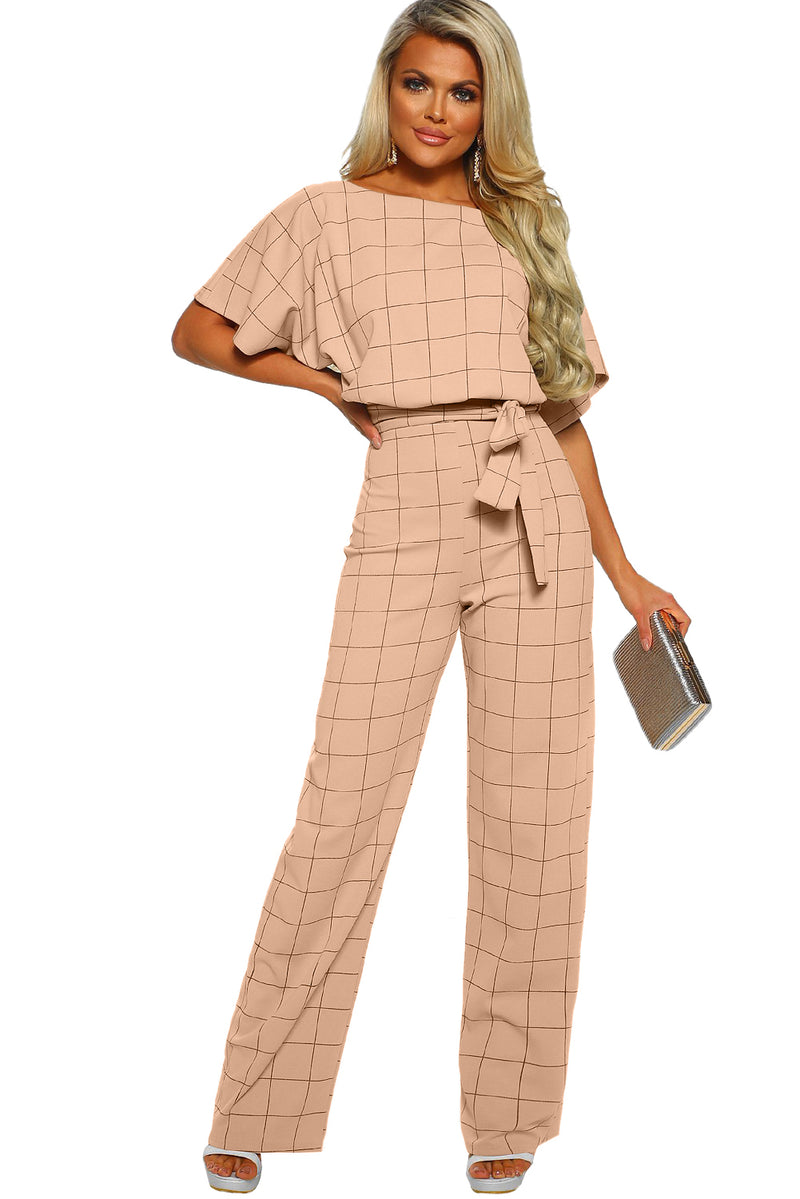 Game Changer Apricot Checked Belted Wide Leg Jumpsuit