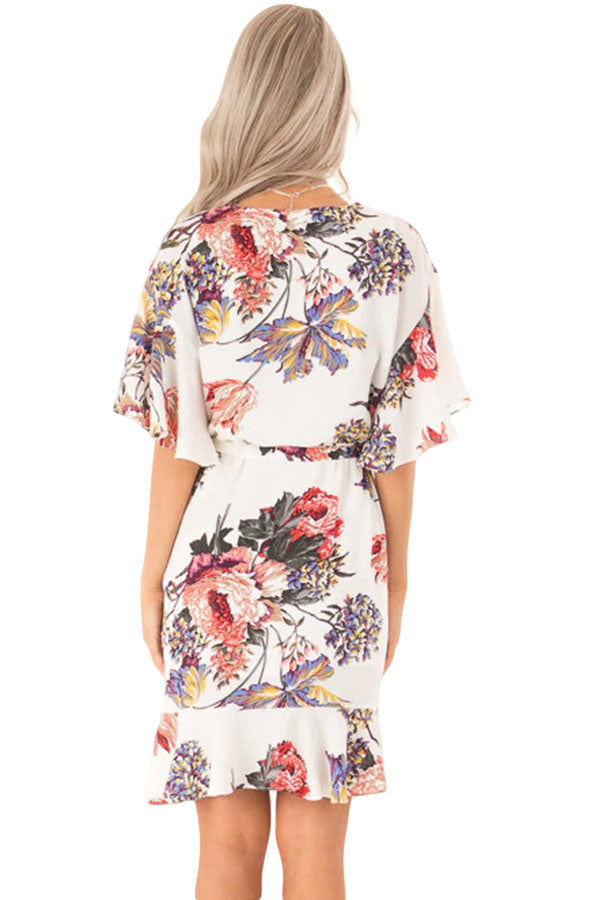 White Floral Print V Neck Wrap Dress with Ruffle Sleeves