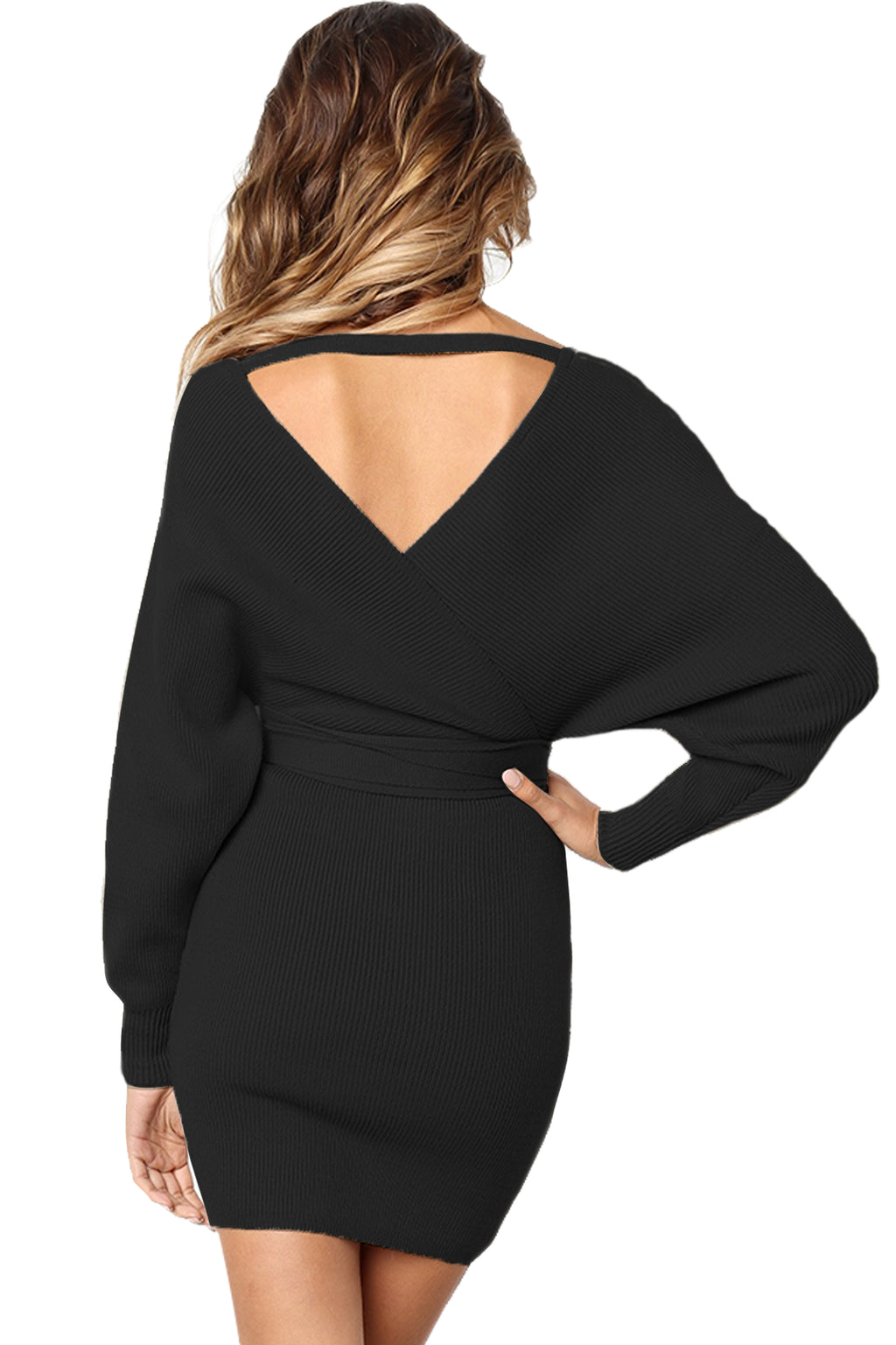 Black Long Sleeve V Neck Tied Sweater Dress