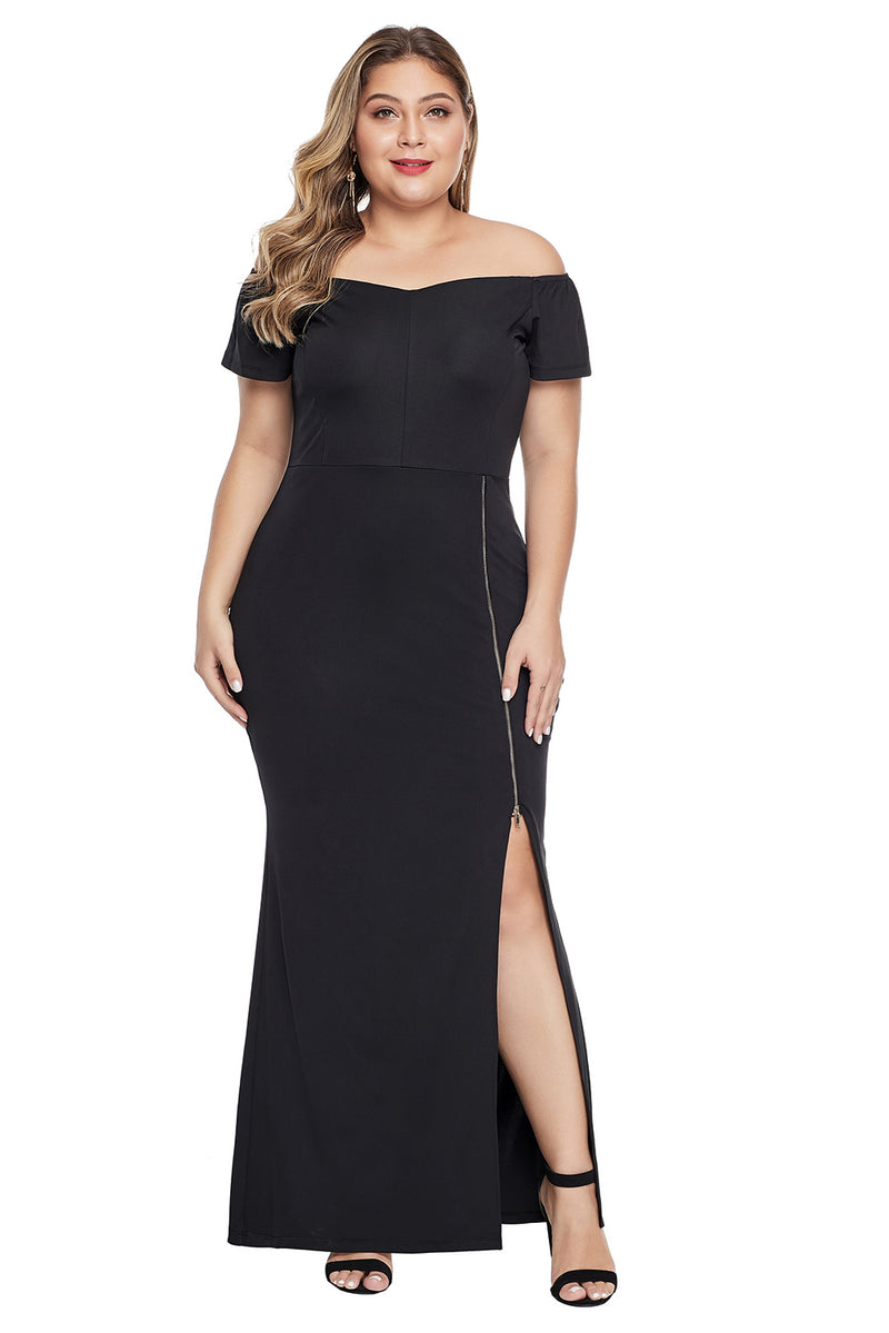 Off Shoulder Short Sleeve Plus Size Dress