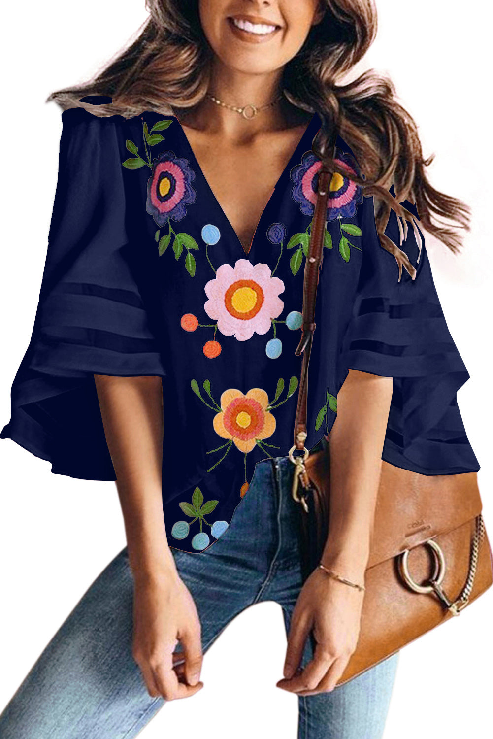 Blue V Collar Floral Print Bell Sleeve T-shirt Blouse