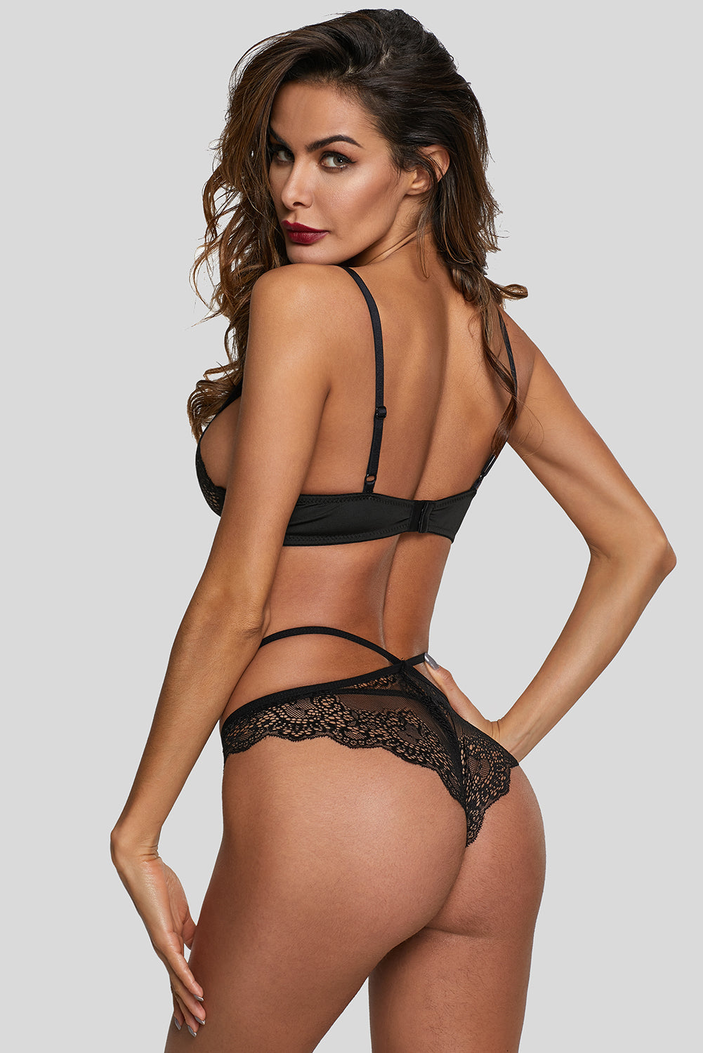 Black Sexy Lace Trim Lingerie Set