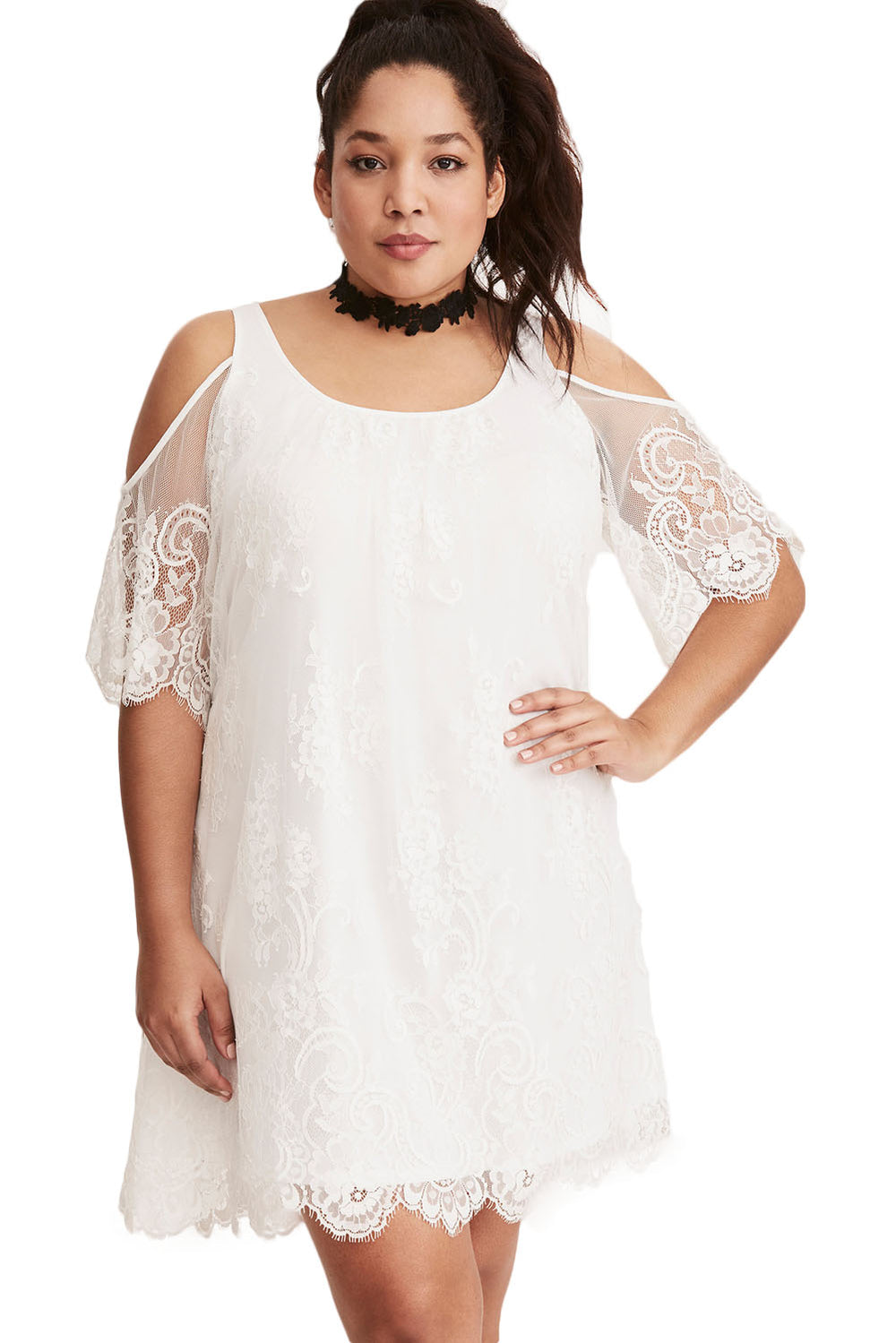 a822dabc3e96a White Plus Size Lace Cold Shoulder Trapeze Dress – FabWoo