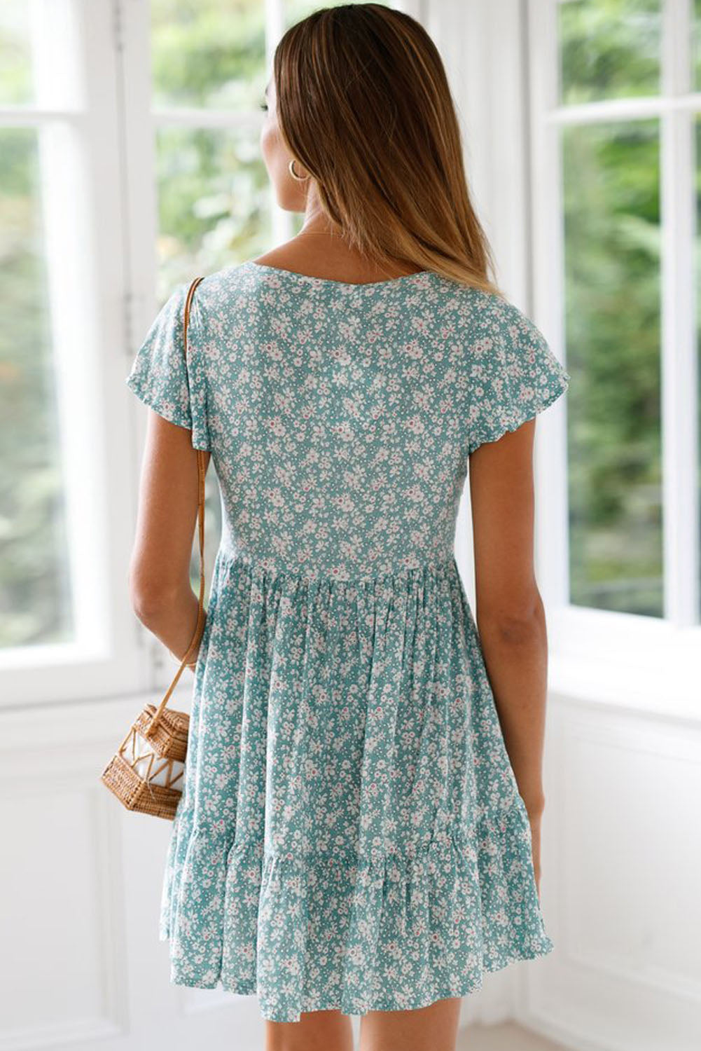 Green Floral Print Valentina Dress