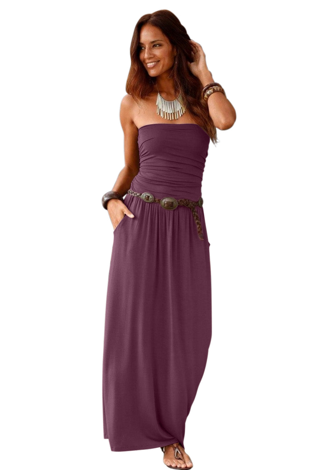 Purple Strapless Bodice Empire Waist Maxi Dress
