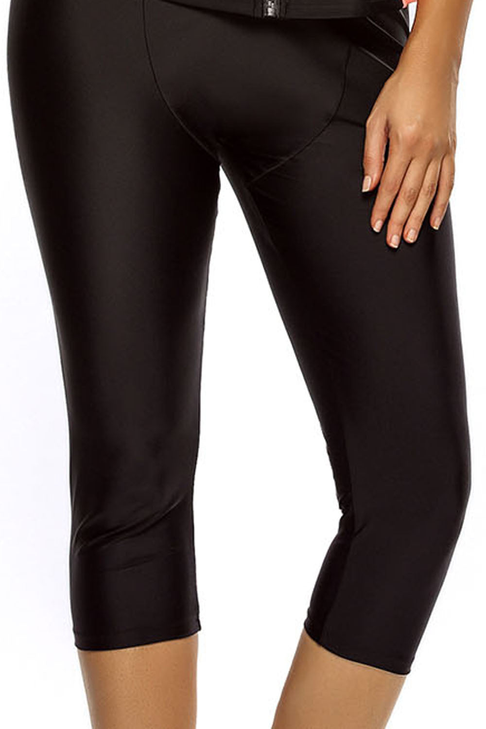 Solid Black Active Wetsuit Capri Pants