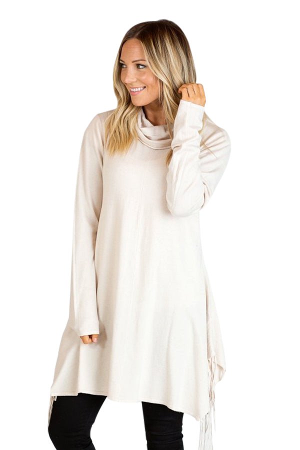 White Cowl Neck Fringe Tunic