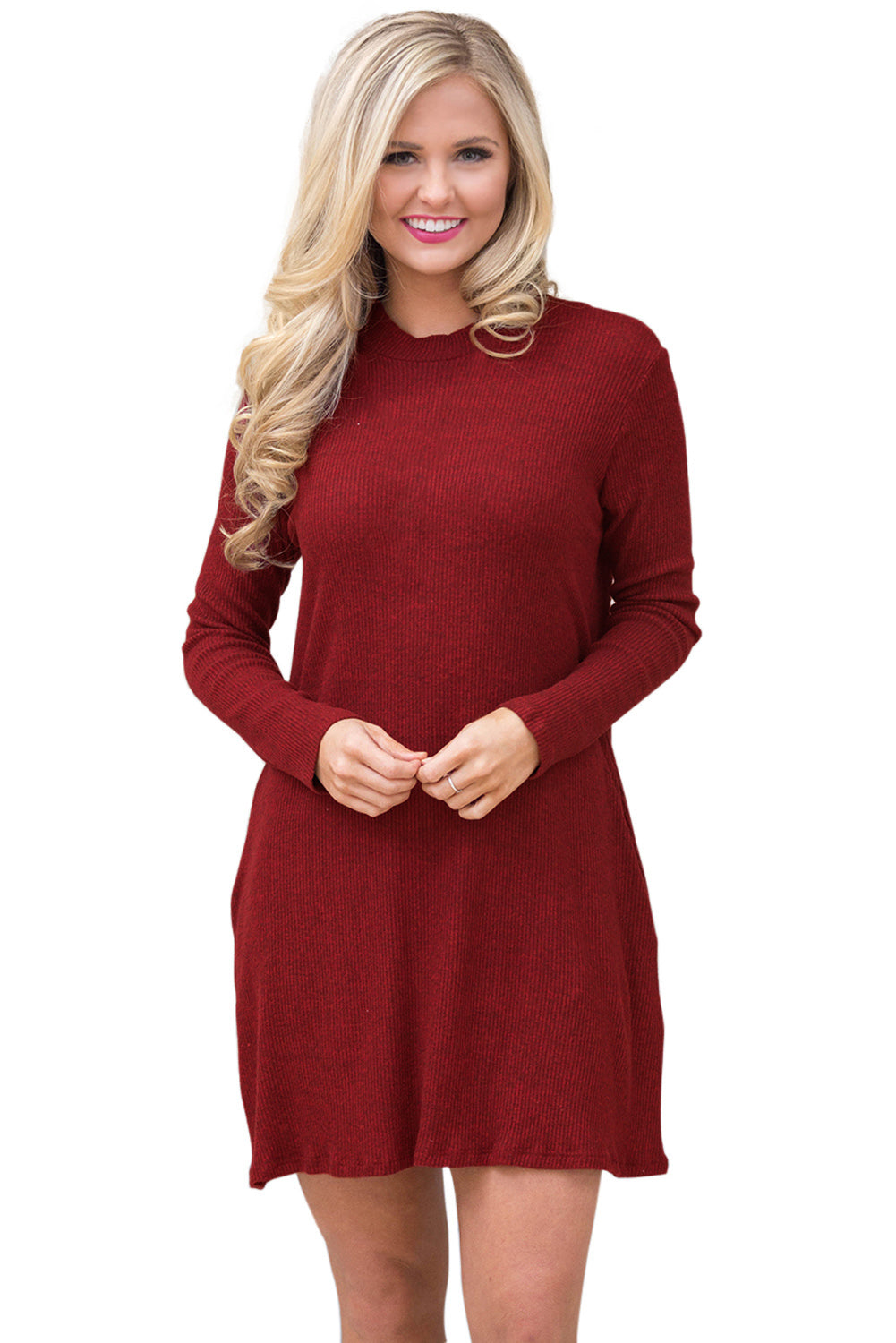 Wine High Neck Long Sleeve Knit Sweater Dress