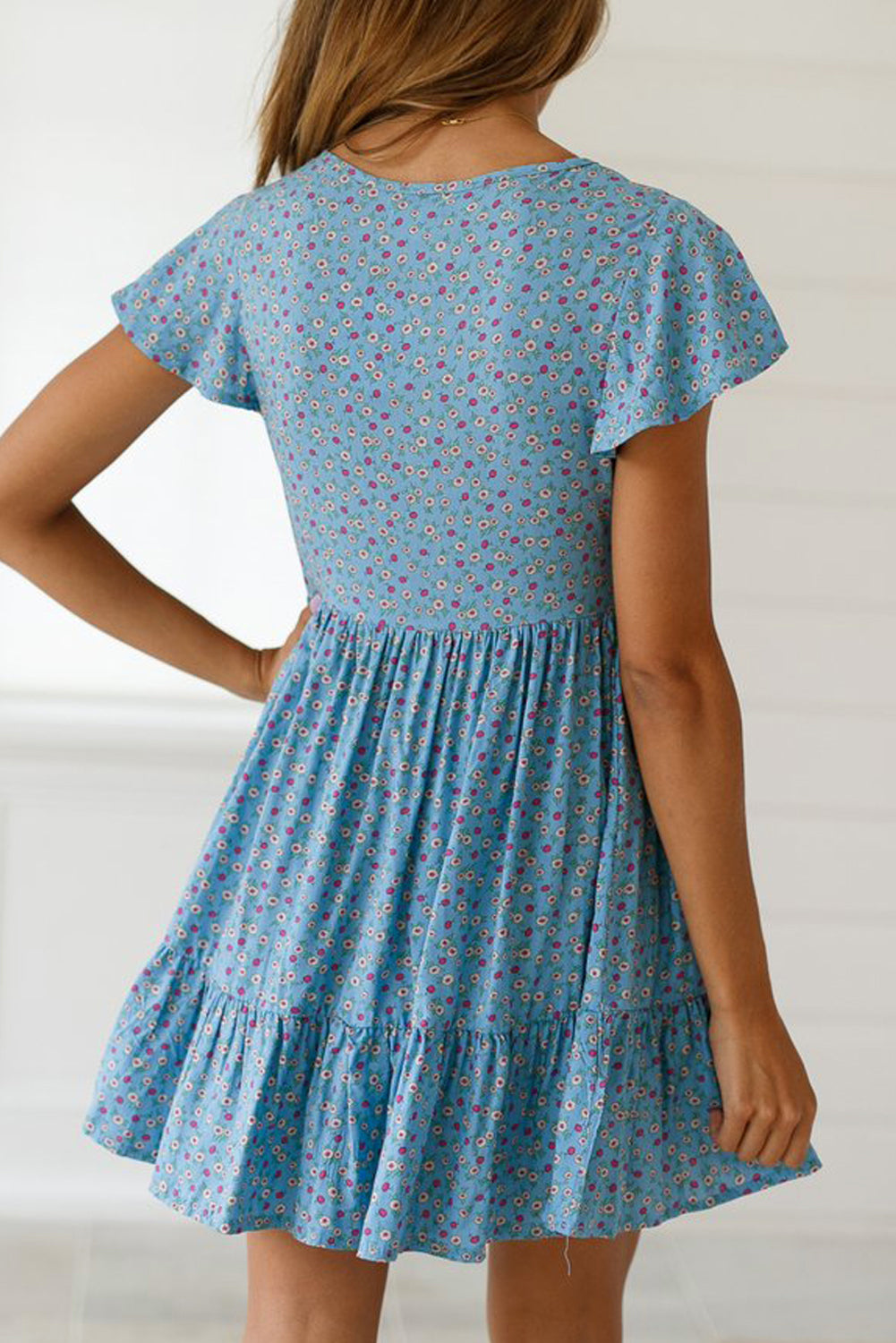 Sky Blue Floral Print Valentina Dress