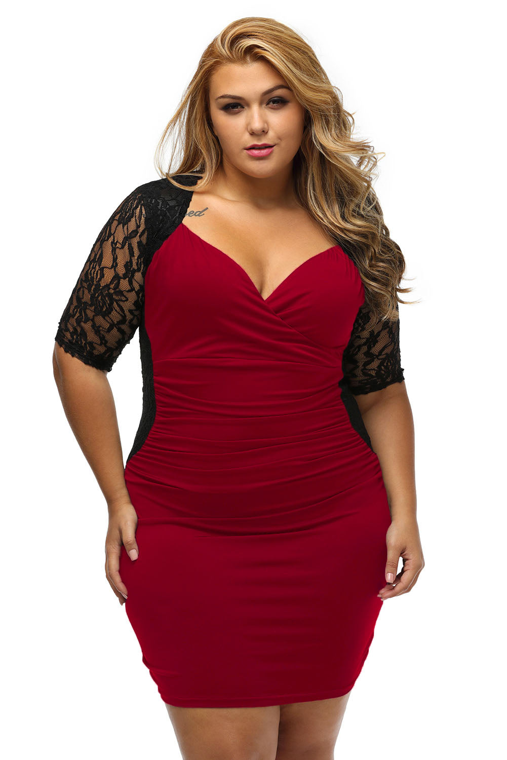 Black Burgundy Ruched Lace Illusion Plus Dress