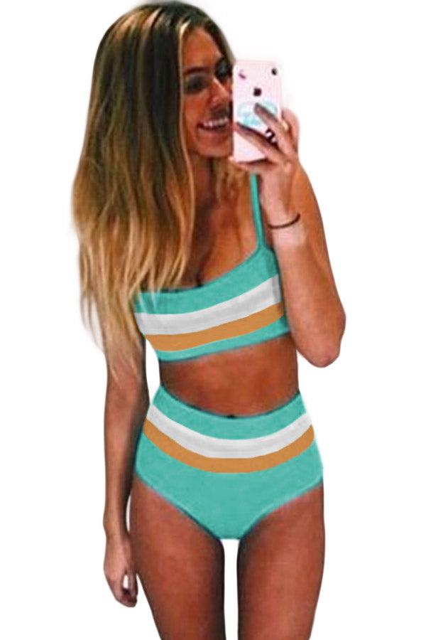Green Bandeau Tube Bikini Set