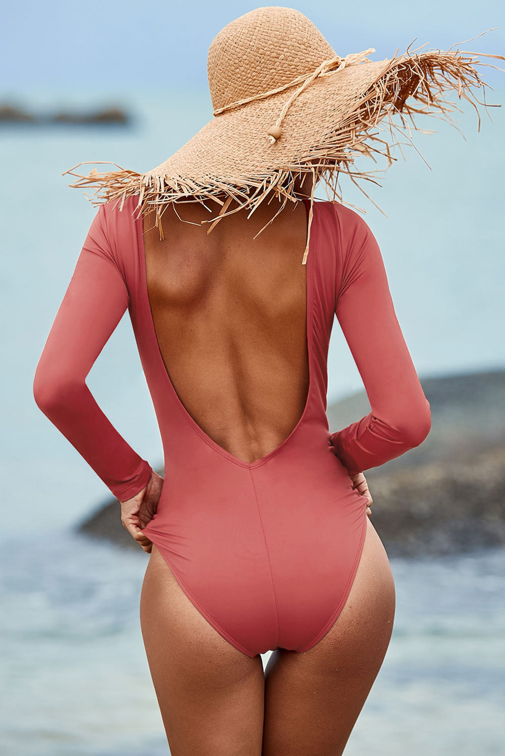 Red Sexy Lace up High Cut One Piece Swimsuit