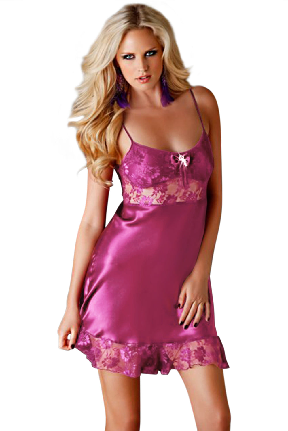 9e88d524937 Rose Satin Lace Negligee Babydoll – FabWoo
