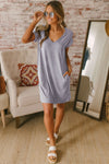 Gray V Neck Cuffed T-shirt Dress