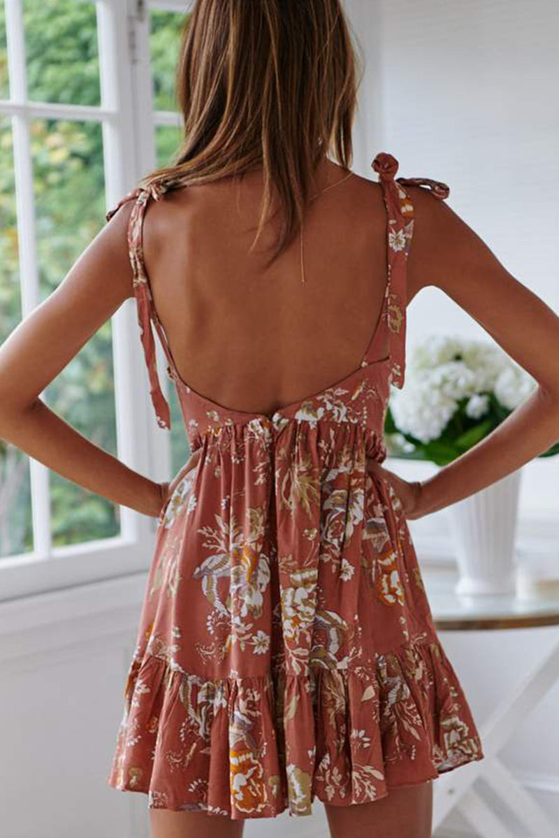 Orange Surpliced V Neck Shoulder Strap Floral Dress