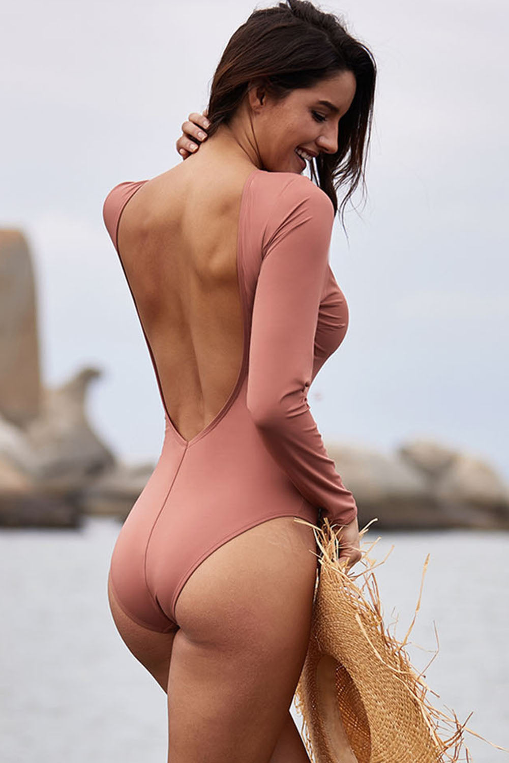 Pink Sexy Lace up High Cut One Piece Swimsuit