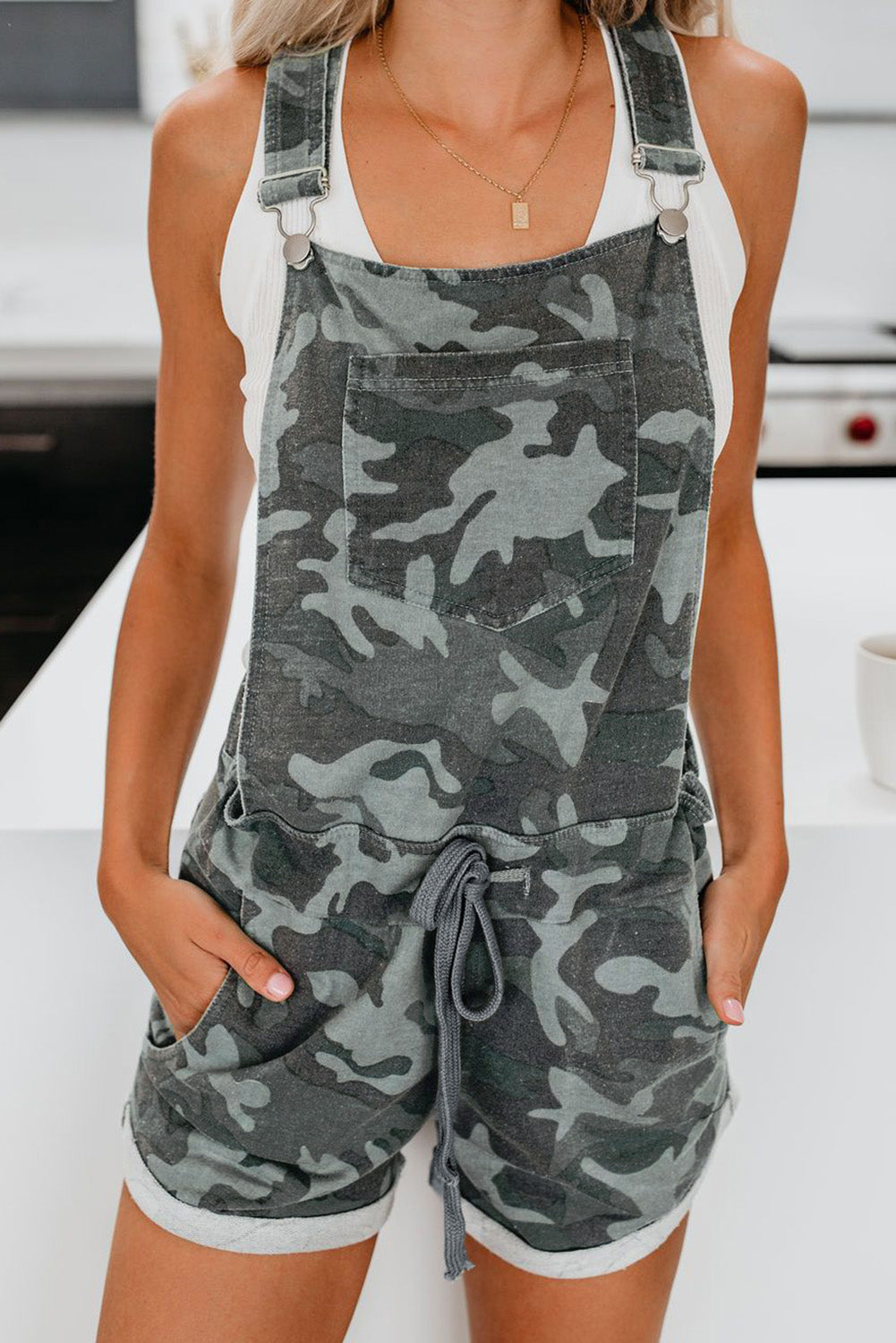 Green Camo Pocketed Short Overall