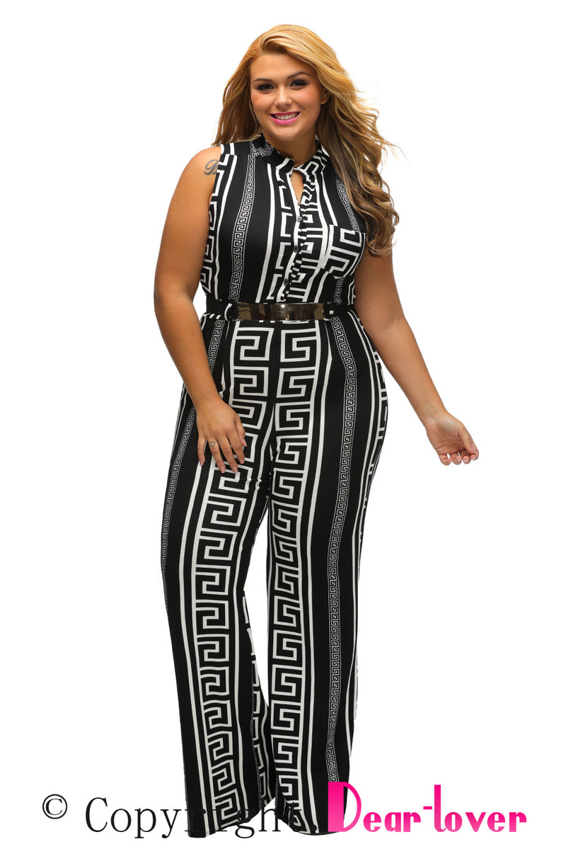 Plus Size Black Print Gold Belted Jumpsuit