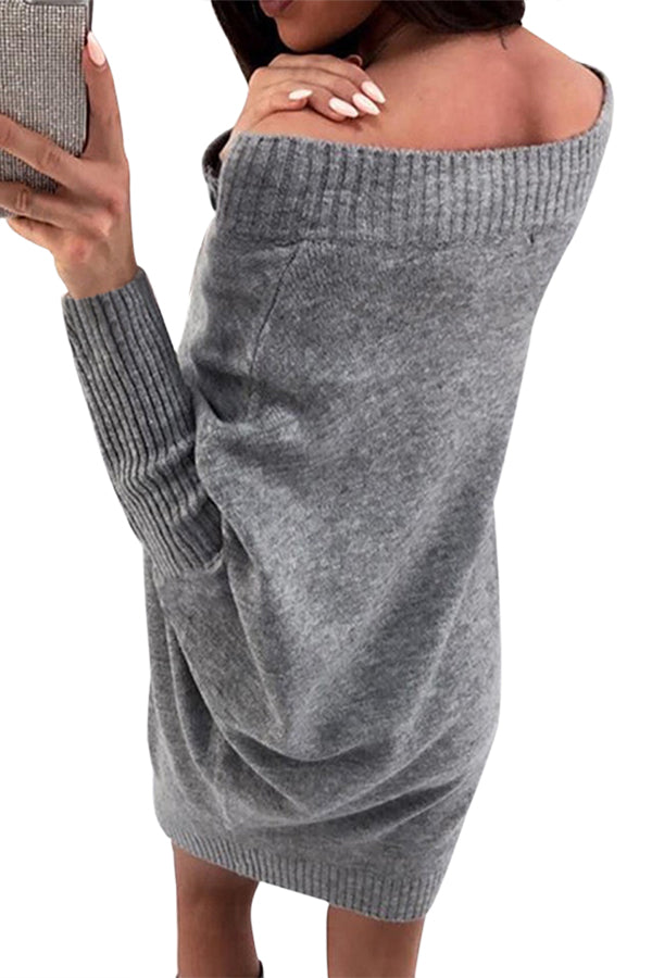 Gray Stylish Long Sleeve Baggy Sweater Dress