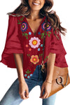 Red Boho Button Down V Neck Floral Print Shirt