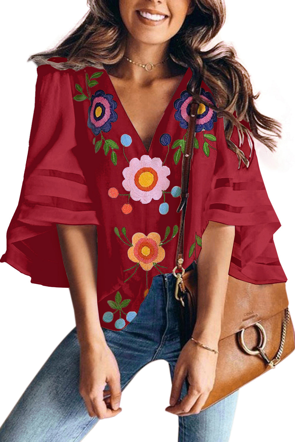 Red V Collar Floral Print Bell Sleeve T-shirt Blouse