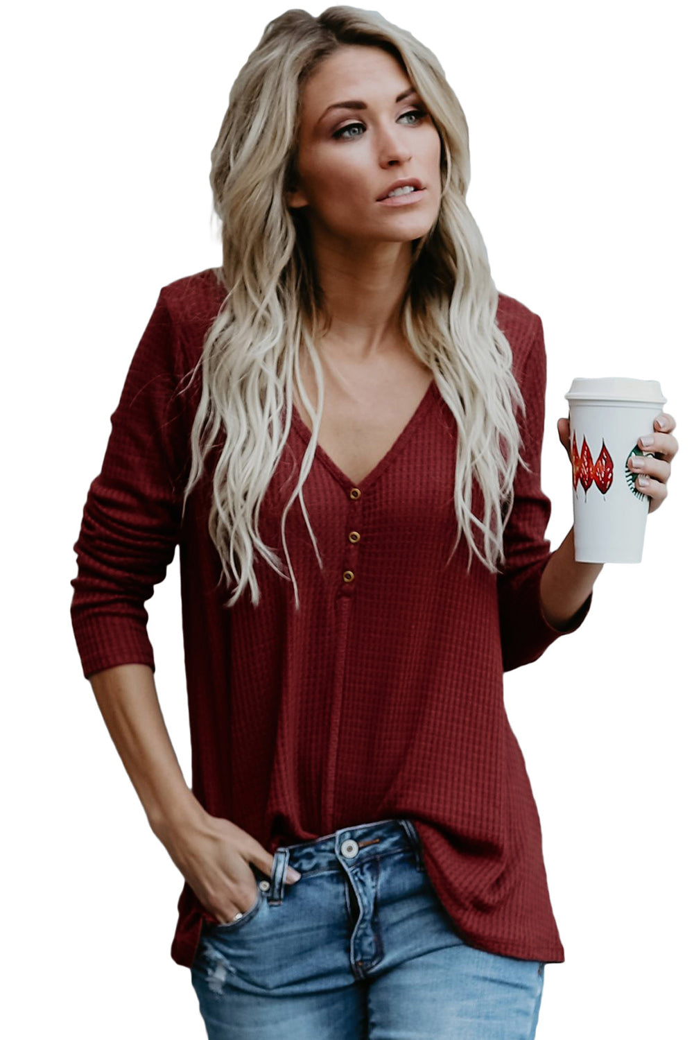 Women's V Neck Buttoned Wine Tunic