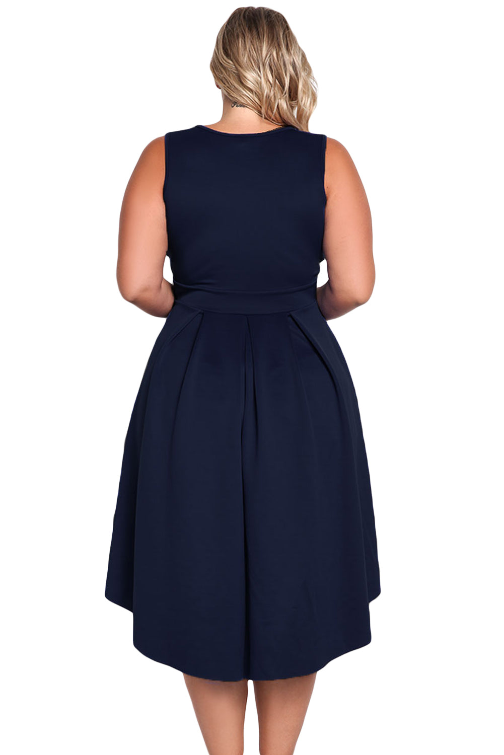 Navy Sleeveless V Neck Plus Size Hi-lo Dress