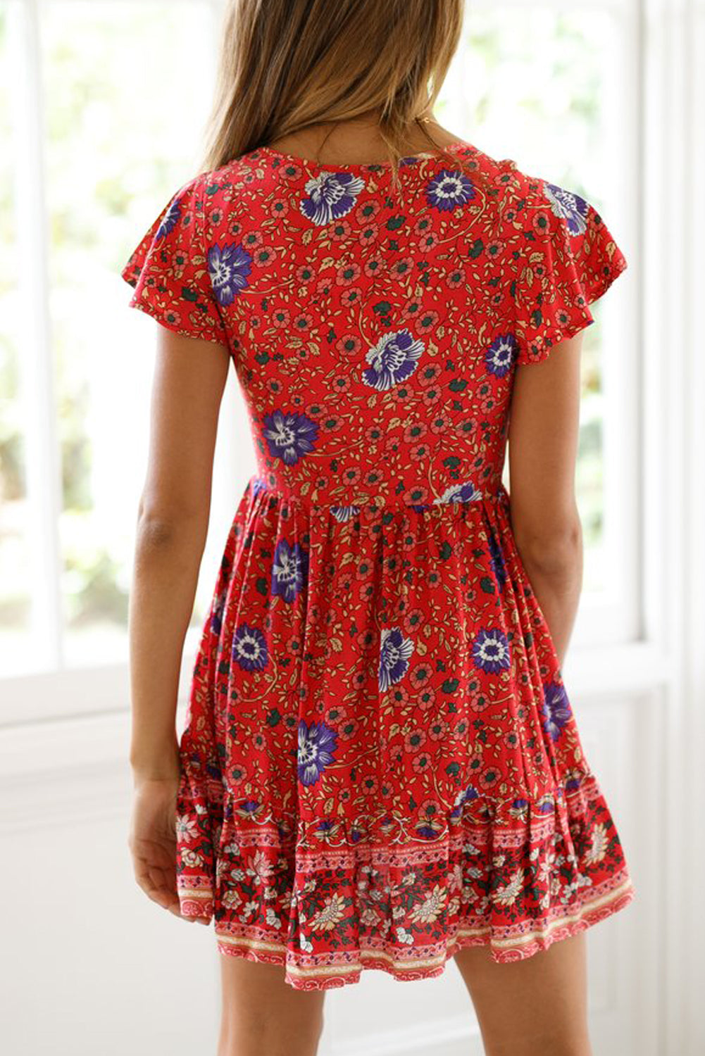 Orange Red Floral Print Valentina Dress