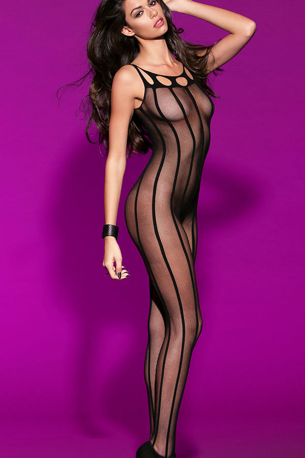 Striped Sheer Open Crotch Body Stockings