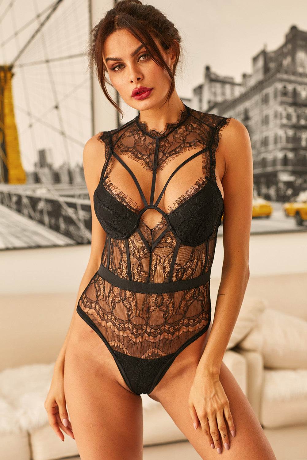 Black Sheer Lace Strappy Bustier Bodysuit