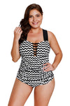Black White Zigzag Crisscross Neckline One Piece Swimsuit