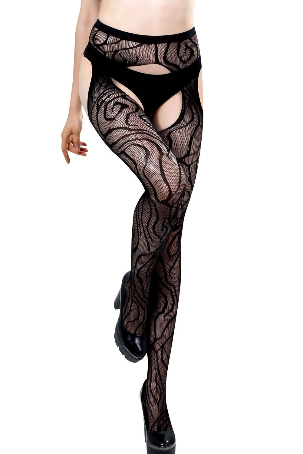 Black Sheer Whorl Lace Open Crotch Pantyhose