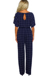 Game Changer Blue Checked Belted Wide Leg Jumpsuit