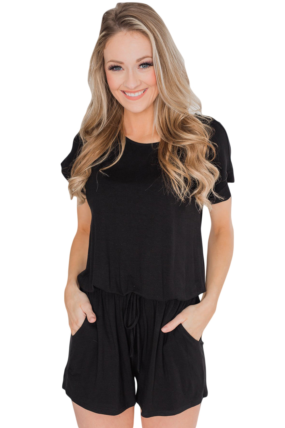 Black Short Sleeve Drawstring Romper