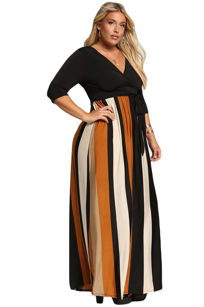 Mustard Color Blocked Skirt Plus Size Maxi Dress