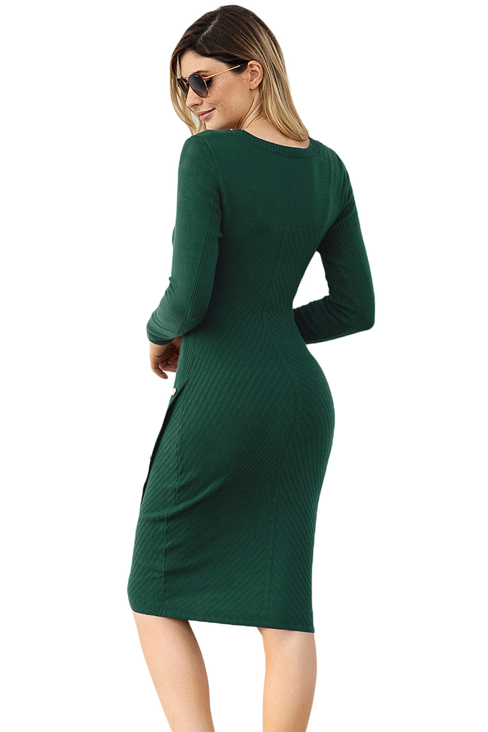 Green Button Detail Sweater Dress