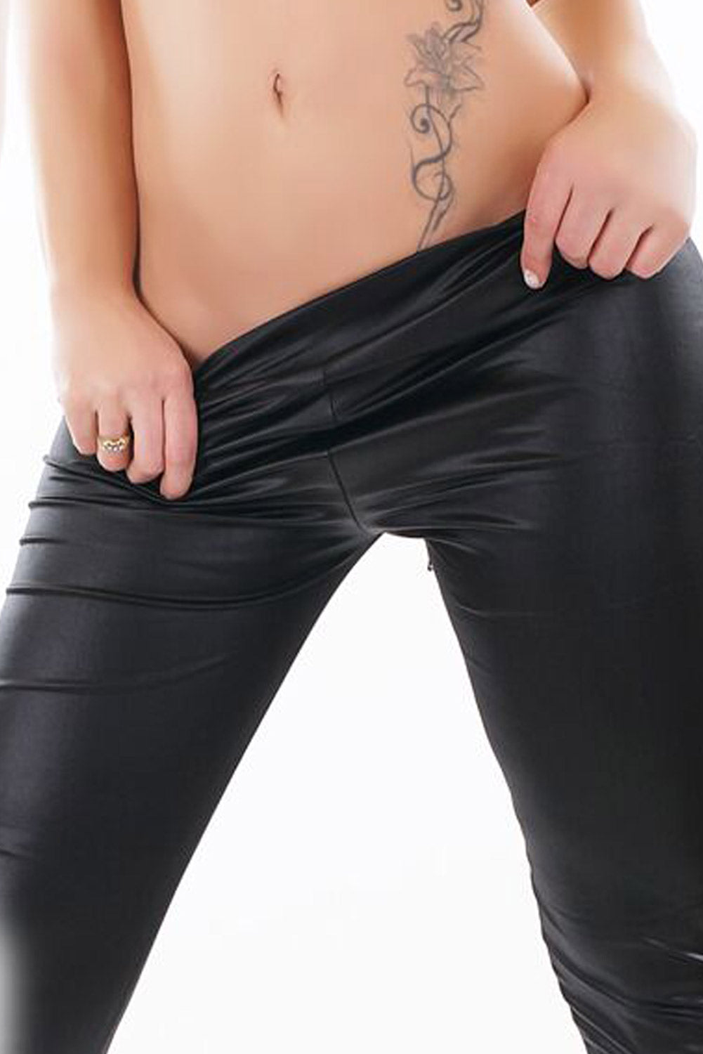 Black Lace Up Detail Faux Leather Stretch Leggings