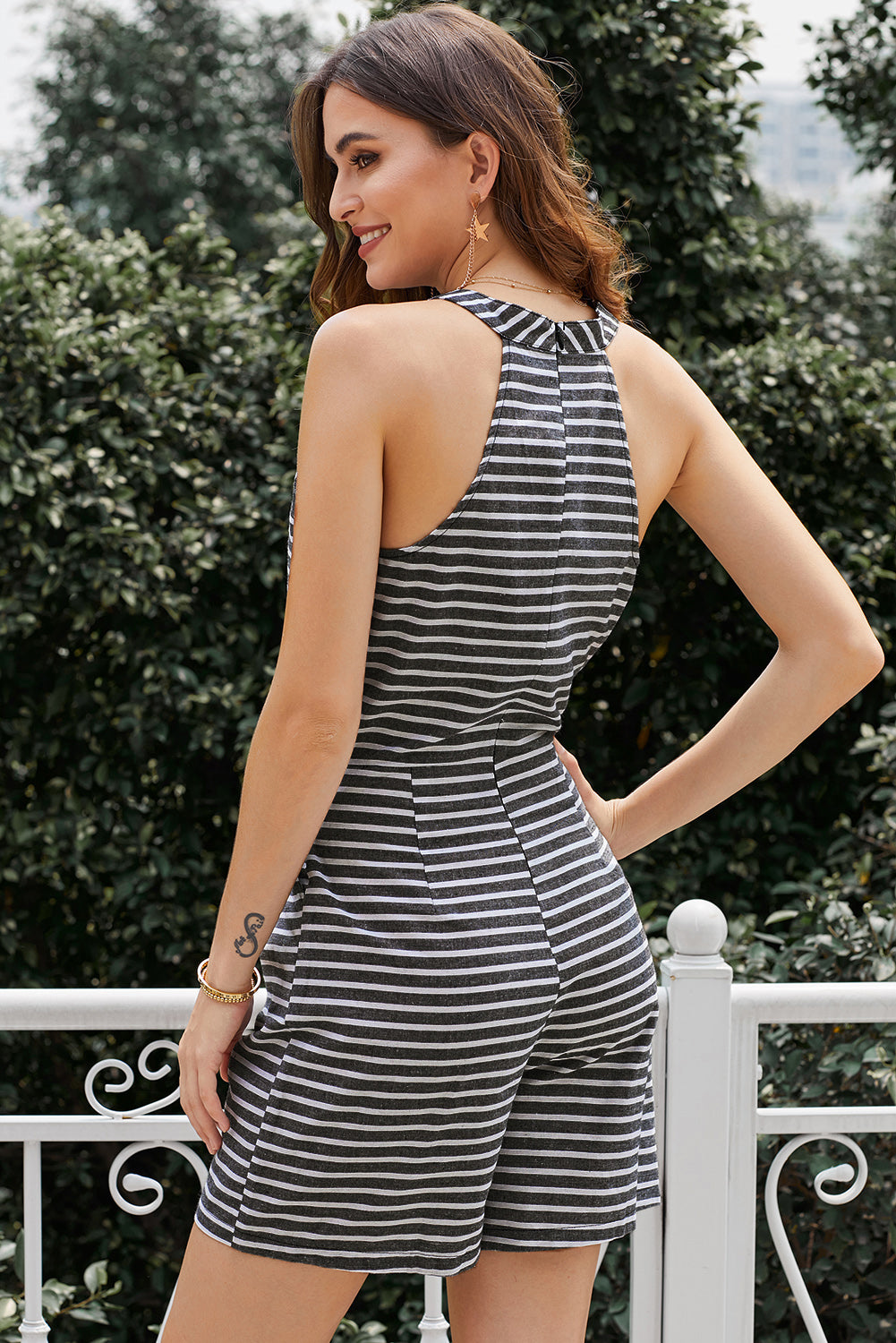 Black Striped Romper