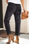 Black Gather Round Distressed Pocketed Denim Jogger