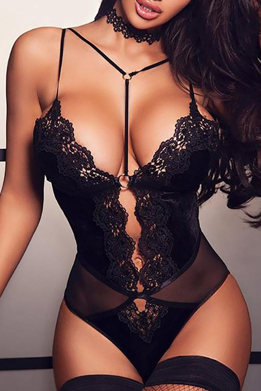 Black Lingerie Lace Bodysuit