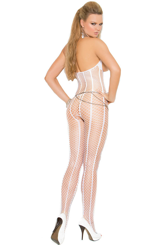 White Open Bust Halter Striped Fishnet Bodystocking